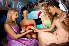Hens night in limousine. Hens night in limo with attractive young girls Royalty Free Stock Photos