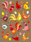 Hens, rooster and eggs Stock Image