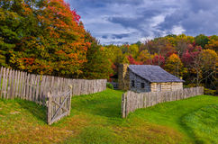 Hensley Settlement, Gibbons place. Warm evening light falls on this beautiful autumn scene at the old Gibbons homestead at Hensley Settlement in the Cumberland stock images