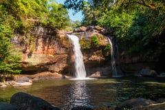 Heo Suwat Waterfall en parc national de Khao Yai Image libre de droits