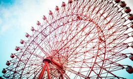 The Hep Five Ferris Wheel. The`Hep Five` Ferris Wheel in Osaka city, the large city in Kansai area of Japan. It`s a landmark of city stock photo