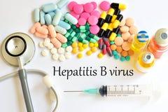 Hepatitis B virus. Drugs for hepatitis B virus treatment Stock Image
