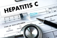 HEPATITIS C   Report with Composition of Medicaments   Medical Royalty Free Stock Image