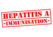 HEPATITIS A IMMUNISATION. Red Rubber Stamp over a white background Stock Image