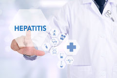 HEPATITIS. Medicine doctor working with computer interface as medical royalty free stock image