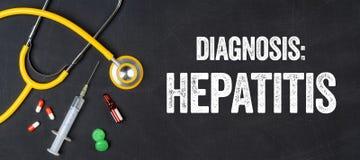 Hepatitis. Stethoscope and pharmaceuticals on a blackboard - Hepatitis Royalty Free Stock Image