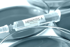 Hepatitis a vaccination blue colored theme Stock Images