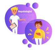 Hepatologistvektor cartoon Isolerad konst på vit bakgrund stock illustrationer