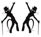 Hepcat dancers. Hep cat retro dancers in silhouette posing Royalty Free Stock Images