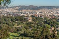 Hephaestus寺庙在古老集市在雅典,希腊 库存照片