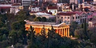 Hephaestus寺庙在晚上,雅典,希腊 免版税库存图片