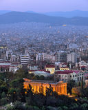 Hephaestus寺庙在晚上,雅典,希腊 库存图片