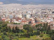 Hephaestus,雅典寺庙 图库摄影