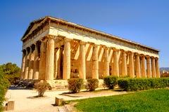 Hephaestus寺庙风景看法在古老集市,雅典 免版税库存照片