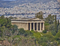 Hephaestus (Vulcan) temple and Athens cityscape Royalty Free Stock Images