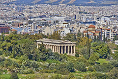 Hephaestus (Vulcan) temple and Athens cityscape Royalty Free Stock Photography