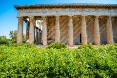 Hephaistos寺庙在上城附近的集市 免版税库存照片