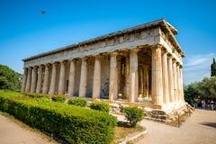 Hephaistos tempel i marknadsplats nära akropol Royaltyfri Bild