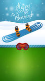 Heppy winter weekend blue snowboard Stock Photo
