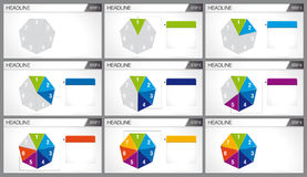 Heptagon shaped pie divided into 7 equal parts are illuminated. In sequence on white background. Elements for info graphics, use in presentation. Vector image Royalty Free Stock Photo