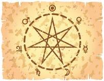 heptagram papierowy retro prześcieradło projektujący dzień powszedni Obrazy Royalty Free
