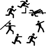 Heptathlete pictograms in a circle. Vector Royalty Free Stock Photo