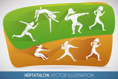Heptathlon Poster with all Track and Field Events, Vector Illustration Royalty Free Stock Photography