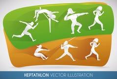 Heptathlonaffisch med alla friidrotthändelser, vektorillustration Royaltyfri Fotografi