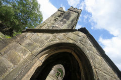 Heptonstall-church-looking-up-at-tower Stock Images