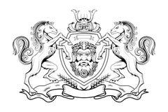 Heráldica, cresta heráldica o escudo de armas, elementos heráldicos para su diseño, grabado, estilo retro del vintage, animales d ilustración del vector