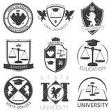 Heráldica de los emblemas del blanco del negro de la universidad stock de ilustración
