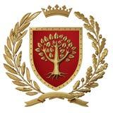 heráldica del ejemplo 3D, escudo de armas rojo Rama de olivo de oro, rama del roble, corona, escudo, árbol Isolat Fotos de archivo libres de regalías