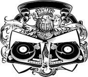 A heráldica DJ assina com plataformas giratórias. Imagem de Stock Royalty Free