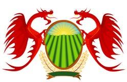Heráldica, dragões vermelhos que prendem um protetor. Fotografia de Stock Royalty Free