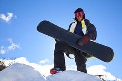 Herói da guitarra do Snowboarder fotografia de stock