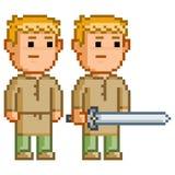 Herói do duende do pixel com uma espada Foto de Stock Royalty Free