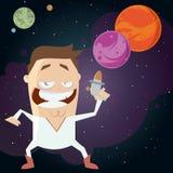 Herói do espaço com fundo da galáxia ilustração stock