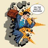 Herói do homem de negócios do sucesso da descoberta do negócio ilustração stock