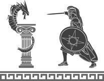 Herói e dragão antigos ilustração stock