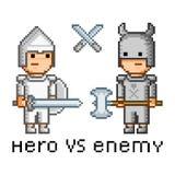Herói e inimigo da arte do pixel ilustração do vetor