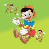 Herói fabuloso Pinocchio; Brinquedo de madeira a desmontar ilustração do vetor