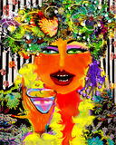 Her Aunt the Queen. Original art work on theme of friendship between women. This is the wise friend Stock Photography