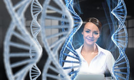Her biochemistry research and discovery. Mixed media. Elegant businesswoman scientist with tablet in hands. Mixed media Royalty Free Stock Photos