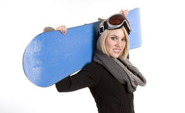 Beautiful Female Poses With Her Sport Snow Board Stock Photo