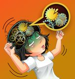 Her brain is broken. royalty free illustration