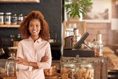 Her cafe business is better than ever royalty free stock photography