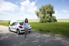 Her car is broken down Stock Image