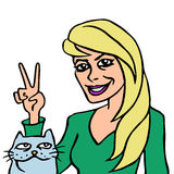 She and her cat. Vector illustration. Royalty Free Stock Images