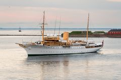 Her Danish Majesty Yacht Dannebrog in Copenhagen harbour Stock Photography