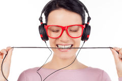 It is her favorite song. Royalty Free Stock Photos